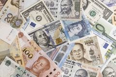 International banknotes from world major countries using as Fore Royalty Free Stock Images