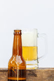 International beer day with beer glass and top beer bottle. Stock Photography