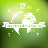 International biodiversity day background with earth and ribbon a shape typography. Illustration of International biodiversity day background with earth and Royalty Free Stock Photos