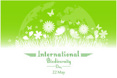 International Biodiversity Day background with flower, butterflies and grass silhouette. Illustration of International Biodiversity Day background with flower Royalty Free Stock Photos