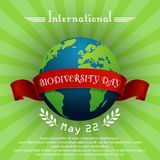 International Biodiversity Day concept with globe and red ribbon. Illustration of International Biodiversity Day concept with globe and red ribbon Royalty Free Stock Photo