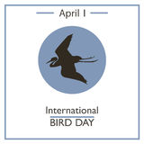 International Bird Day, April 1. Vector illustration for you design, card, banner, poster and calendar Royalty Free Stock Photography