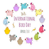 International Bird day greeting card template. Vector EPS 10 illustration for design Royalty Free Stock Photos