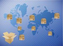 International box shipping illustration design. Over a blue background Stock Photo