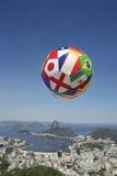International Brazil Football Soccer Ball Above Rio de Janeiro Royalty Free Stock Photos