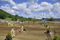 INTERNATIONAL BROMONT. BROMONT-CANADA JULY 29: Unknown rider on a horse during 2011, INTERNATIONAL BROMONT on July 29, 2011 At the Equestrian 1976 Montreal Stock Photo