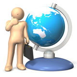 International Business. A businessman is standing by the Globe. It represent the International Business. This is a computer generated image,on white background Stock Images