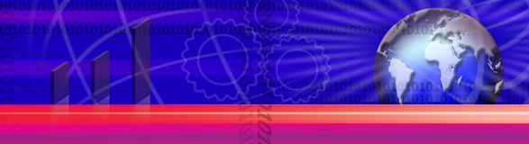International business banner. A colorful banner with graphics suggesting a digital international business theme including a globe, binary code and a business Stock Image
