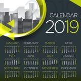 2019 International Business Calendar - Vector Template stock photo