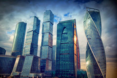 International business center Moscow-City in the evening at sunset Stock Photography