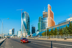 International Business Center Moscow-City and Expocenter. (right) of Moscow, Russia, on Monday, August 11, 2014. Expocenter is the international trade shows and Stock Photos