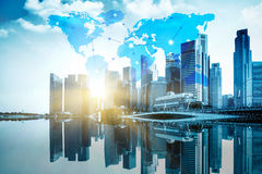 International business concept background with network Royalty Free Stock Photo