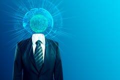International business concept. Glowing digital globe headed businessman on blue background with copy space. International business concept. 3D Rendering Stock Photo