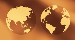 International business concept two world globes background Royalty Free Stock Images