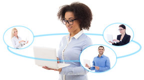 International business concept - young business woman and his te Stock Images