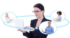 International business concept - young business woman talking wi Royalty Free Stock Image