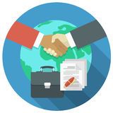 International Business Cooperation Concept. Conceptual illustration of international business cooperation and partnership Royalty Free Stock Images