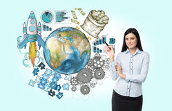International business cooperation. Elements of this image furni Royalty Free Stock Photo