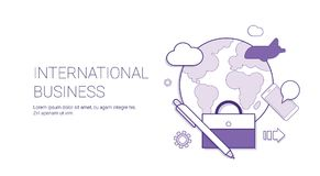 International Business Development Global Market Concept Banner With Copy Space Thin Line. Vector Illustration Stock Photo