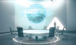 International business and finance concept. Tiny businessman silhouettes in abstract meeting room with glowing business globe hologram above conference table Royalty Free Stock Photography