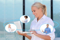 International business and internet concept - young business wom Stock Photography