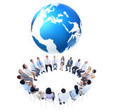 International Business Meeting with World Map Royalty Free Stock Images