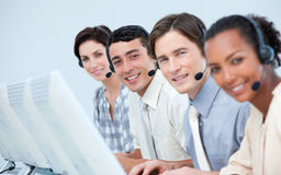 International business people in a call center Royalty Free Stock Image