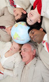 International business people lying on the floor Royalty Free Stock Photography