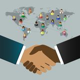 International business people shaking hands. Diverse businessmen and world map as globalization concept. Handshake and partnership concept in flat design stock illustration