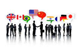 International Business People Talking Together. Group Of International Business People Talking To Each Other In A White Background Royalty Free Stock Image