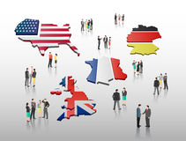 International business people vector with flag Stock Photo