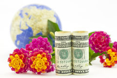 International business seen in American dollars, globe, and flow. Elegant photograph of business concepts of international markets, business, industries, and Stock Image