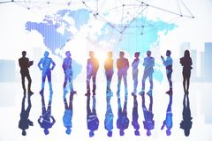 International business and success concept. Businesspeople on abstract city background with map and daylight. International business and success concept. Double stock illustration