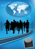 International business team. With silhouettes of businessmen Stock Photography