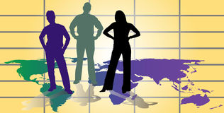 International Business team. Three member business team stands on world map grid with determined stance -- 5-layer vector illustration Stock Images