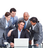 International business team looking at a laptop Royalty Free Stock Images