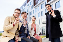 International business team showing ok hand sign Royalty Free Stock Photography