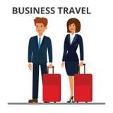 International business travel.. International business travel. Businessman and businesswoman with suitcase. Passengers with luggage. Flat vector illustration Stock Image