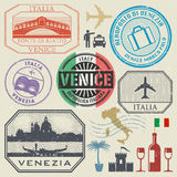International business travel visa stamps set, Italy, Venice Royalty Free Stock Photo