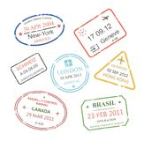 International business travel visa stamps set Royalty Free Stock Images