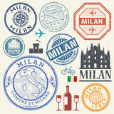 International business travel visa stamps or symbols set Italy, Royalty Free Stock Photos