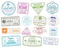 International business travel visa stamps vector arrivals sign set stock illustration
