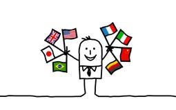 International businessman. Hand drawn cartoon characters - international businessman Stock Image