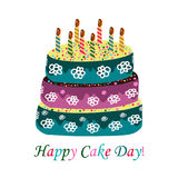 International Cake Day. July 20. Cake with candles. Vector illustration on isolated background.  Royalty Free Stock Photography