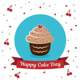 International Cake Day. July 20. Picture for the holiday of friendship and peace. The cake is next to the inscription. International Cake Day. July 20. Picture Royalty Free Stock Images
