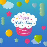 International Cake Day. July 20. Picture for the holiday of friendship and peace. The cake is next to the inscription. International Cake Day. July 20. Picture Stock Images
