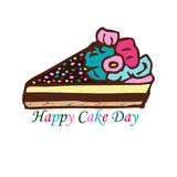 International Cake Day. July 20. A piece of cake with roses from cream. Vector illustration on isolated background Royalty Free Stock Photo