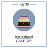 International Cake Day, July 20. Vector illustration for you design, card, banner, poster and calendar Royalty Free Stock Photo