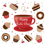 International Cake Day. Mug of tea and muffin. July 20. Stock Images