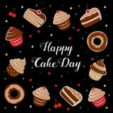 International Cake Day. Vector illustration of an inscription among cupcakes, cakes, and donuts. July 20. International Cake Day. Picture for the holiday of Royalty Free Stock Photos